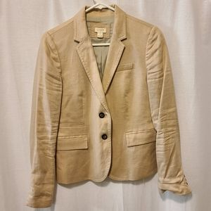 Tan linen J Crew blazer classic fit size 4